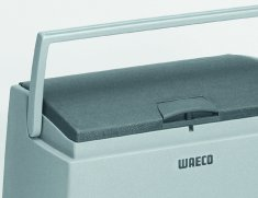 The Waeco CoolFreeze CDF-18 compressor Cool Box features a robust yet sleek carry handle.