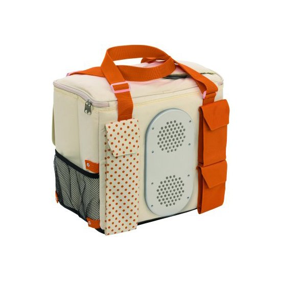 Rear view Waeco Mobicool S32 Camping Cool bag in beige