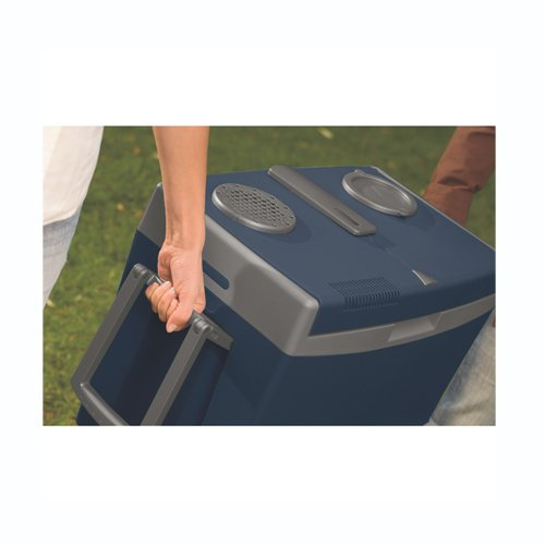The Waeco W35 camping cool box adjustable carry handle.